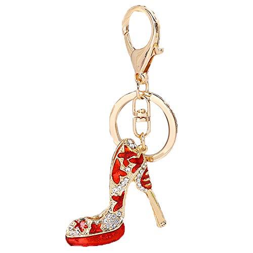 Skyeye Diamantbesetzter Öl High Heel Schlüsselanhänger Schlüsselbund Keychain Rucksack Anhänger Mädchen Handy Auto Ornamente Zubehör Taschenanhänger Rot