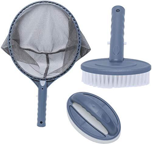 Poweka Kit de Mantenimiento de SPA para Piscinas Fuente Termal,Juego de Accesorios de Herramientas de Limpieza con Cepillo Espumadera Estropajo
