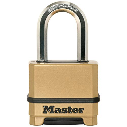 MASTER LOCK Heavy Duty Padlock [Combination] [Zinc] [Long Shackle] [Outdoor] M175EURDLF - Best Used for Storage Units, Sheds, Garages, Trailers and More