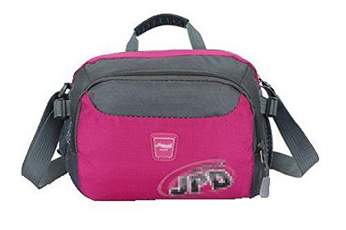 VogueZone009 Donna Tote-Style Moda Nylon Borse di tela Viaggio Borse a tracolla, CCALBP181077,Rosered