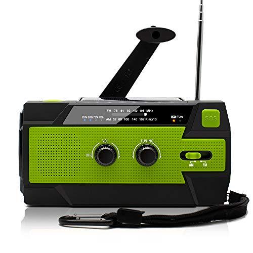 防災ラジオ 手回し充電 ソーラー充電 USB充電 大容量4000mAh 多機能 AM/FM SOSアラート アウトドア キャンプ 防災 台風 津波 地震 震災 停電緊急対策 (緑)