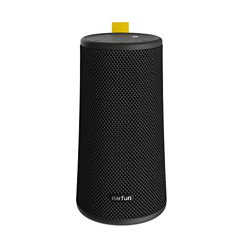 EarFun UBOOM ワイヤレススピーカー 24W 360°サウンド Bluetooth 5.0 重低音強化 16時間連続再生 IPX7完全防水 デュアルパッシブラジエーター DSP処理 ステレオペアリング機能 USB-C充電 インドア・アウトドアサウンドモード ブラック