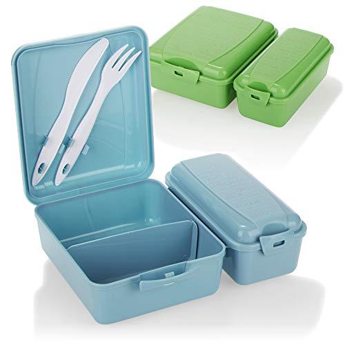 COM-FOUR® 2x Fiambrera con dos compartimentos separados - Fiambrera para llevar, con cubiertos, cuchillo y tenedor en la tapa (2 piezas - azul verde)
