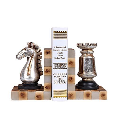 LICHUAN Sujetalibros de ajedrez europeos, juego de sujetalibros de arte, extremos de libro para estantes, soportes de sujetalibros decorativos resistentes para libros, soporte de libros