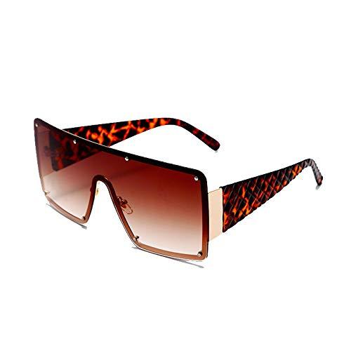 Astemdhj Gafas de Sol Sunglasses Nuevas Gafas De Sol Cuadradas De Moda para Mujer, Montura De Metal De Gran Tamaño, Gafas Vintage para Hombre, Sombras, Colores Degradados Retro, UAnti-UV