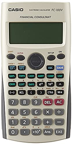CASIO FC-100V Calculadora Financiera, 13.7 x 80 x 161 mm, color gris