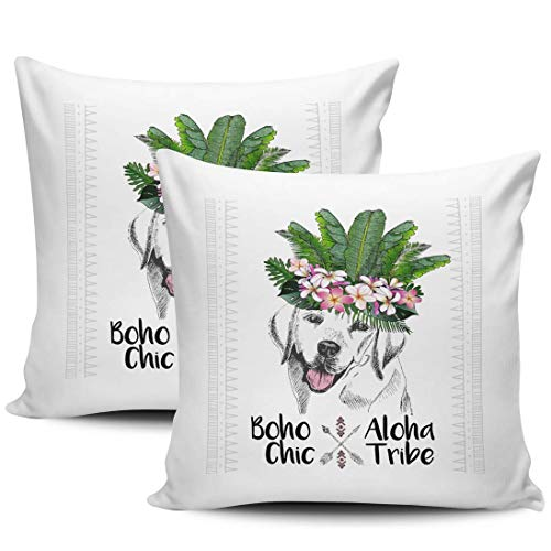 Boho Aloha Tribe Dog Lab Fundas De Almohada Suave Tirar Almohada Cojin Moda Fundas Cojín para Sofá Cama Coche Juego De 2, 45x45 cm