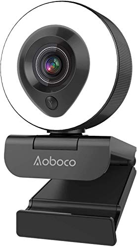 Webcam Streaming 1080P Full HD with Dual Microphone and Ring Light, Aoboco USB Pro Web Camera Stream for Windows Laptop Twitch Xbox One Skype YouTube OBS Xspli (Model-968)