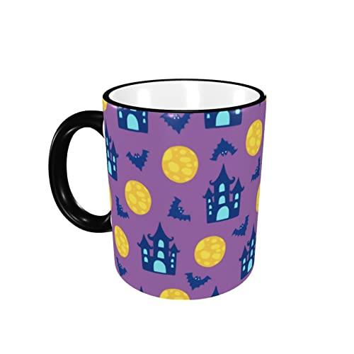 Taza de café de color de la frontera de Halloween taza de café taza de cerámica con mango taza de té taza de café taza de café regalo para hombres mujeres oficina trabajo
