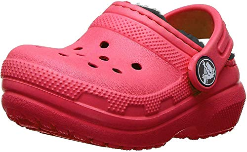Crocs Unisex-Kinder Classic Lined Kids Clogs, Rot (Pepper/Navy), 19/20 EU