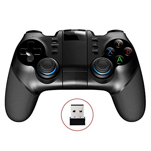 CHENC Bluetooth Gamepad, 2 In1 Bluetooth 4.0 2.4G Wireless Mobile Gamepad-Controller PC Gaming Joystick Mit Justierbarem Haltewinkel-Halter Für Ios- Und Android-Tablets TV Box Usw.
