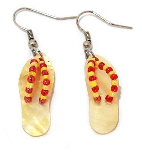 Muschel Ohranhänger Flip Flop aus Bali, gelb-rot Paar Ohrringe Ohrstecker