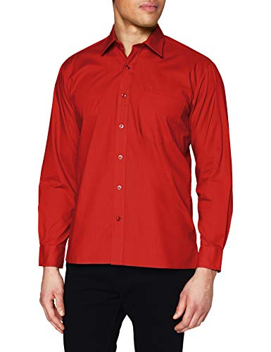 Premier Workwear Poplin Long Sleeve Shirt, Chemise Business Homme, Rouge (Red), XXX-Large
