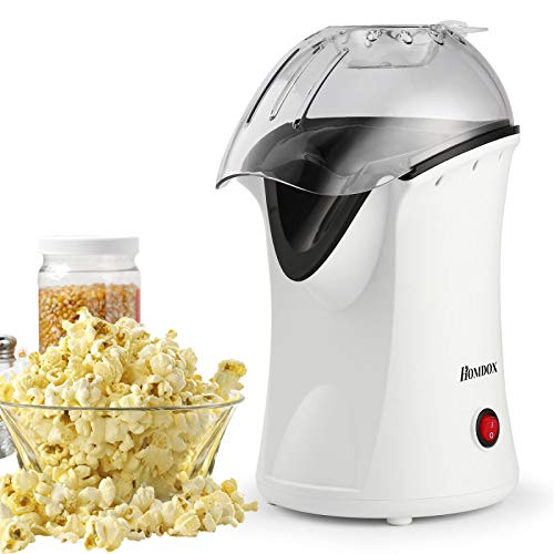 Affordable Homdox Hot Air Popcorn Popper, No Oil Popcorn Maker with Measuring Cup and Removable Lid,...