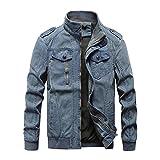 Vintage Military Denim Jacket Men Bomber Jackets Male M 6XL Stand Collar Slim,Blue,XXXL