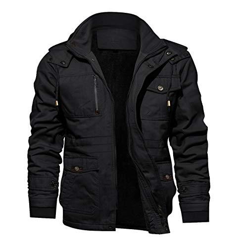 TACVASEN Men's Hooded Military Tactical Jacket Windbreak Fleece Coat Black, US XL