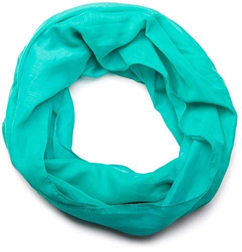 styleBREAKER styleBREAKER leichter unifarbener Loop Schlauchschal, seidig, Unisex 01016076, Farbe:Aquagrün