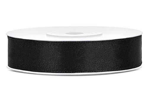 DaLoKu Satinband 6/12/25/38/50/100mm x 25m Geschenkband Schleifenband, Größe: 12mm x 25m, Farbe: Schwarz