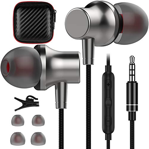 COOYA 3.5mm in-Ear Wired Headphones with Microphones, Magnetic Earbuds with Headphone Case Stereo Audio 3.5mm Jack Earphones for Samsung S10 S9 A71 5G A51 A11 A10e A20 OnePlus 6 5T 3T LG MP3 iPhone 5