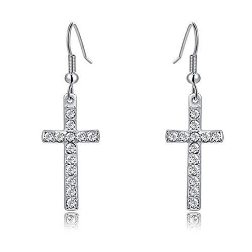 New foreign trade best-selling jewelry earrings diamond cross earrings platinum