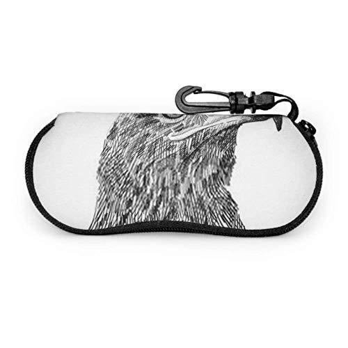 DUKAI Brillenetui, Saker Falcon Falco Cherrug Schwarz Weiß Sonnenbrille Weichetui Ultraleichtes Neopren-Reißverschluss-Brillenetui mit Karabiner, Herren-Brillenetui
