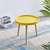 Sim Luxury - Mesa de café redonda con patas de madera para sala de estudio, 50 cm x 50 cm x 45 cm (amarillo)