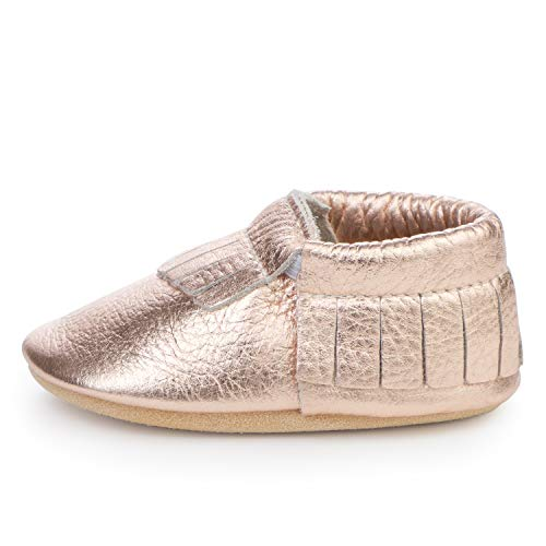 BirdRock Baby Moccasins - 30+ Styles for Boys & Girls! Every Pair Feeds a Child (US 4, Rose Gold)