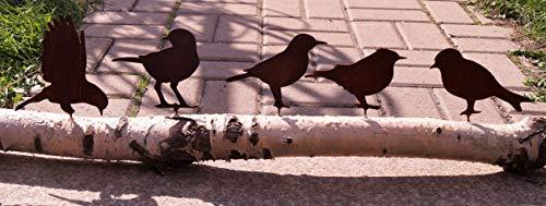 Dekostüberl Rostalgie Edelrost 5er Set Vögel mit Schraubgewinde 15x10cm für Holz Zaunfiguren Gartendekoration