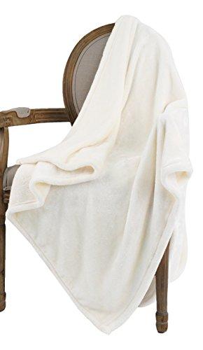 Bertte Ultra Velvet Plush Super Soft Decorative Throw Blanket-50 x 60', Solid Ivory White