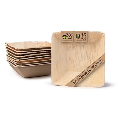 BIOZOYG Umweltfreundliches Einweggeschirr aus Palmblättern I 25 Stück Palmblatt Schale quadratisch 300ml 13cm I Salat-Schüssel Dipschale Suppenschale Servierschale Snackschale