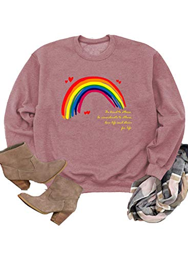 Sudadera de manga larga con estampado de corazón arcoíris para mujer, con estampado de letras, cuello redondo, informal, para mujer