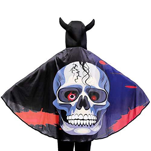 Capa de Halloween para niños, 3D con capucha, vestido de diablo con capucha con capucha disfraz de diablo para niños