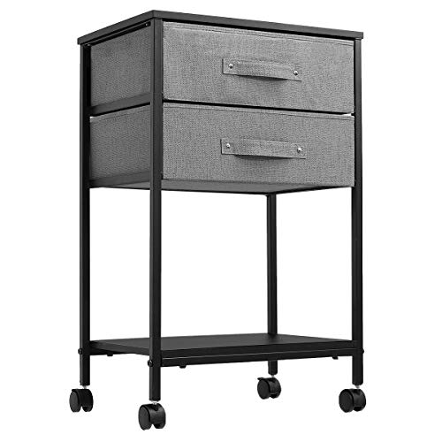 KINGSO Nightstands Side End Tables with 2 Drawer and Storage Shelf Bedside Table Night Stand for Small Spaces Bedroom Wood Accent Furniture with Lockable Casters Metal Frame