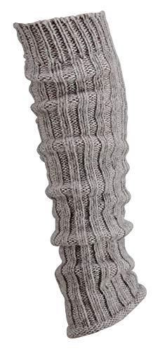 krautwear® Damen Mädchen 1 Paar Beinwärmer Stulpen Legwarmers Grobstrickstulpen mit Alpakawolle Alpaka Flauschig ca. 40cm 80er Schwarz Weiß Grau Beige (taupe)