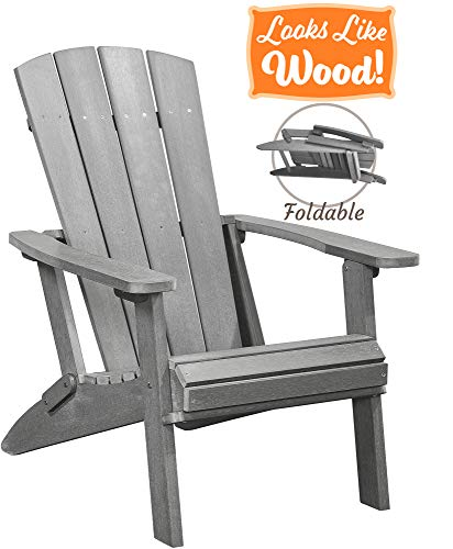 PolyTEAK Modern Oversized Folding Poly Adirondack Chair, Stone Gray | Adult-Size, Weather Resistant,...