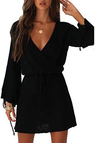 ZANZEA Jersey Mujer Invierno Largo Vestidos de Encaje para Vestido Lazo Elegant Fiesta de Noche Su/éter Suelta