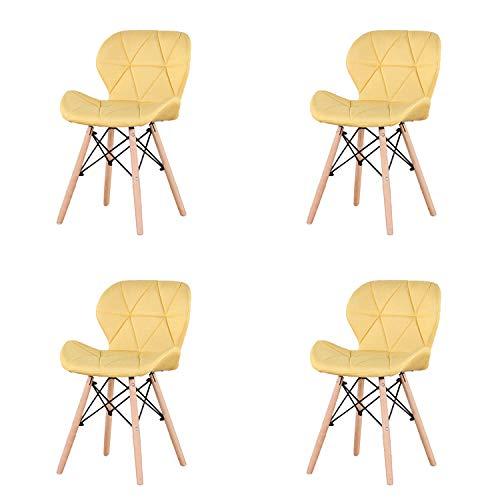 Muebles Home Esszimmerstühle, 4 Stück, moderner Stil, Möbel, Küche, gepolstert, Leinenstoff, Rückenlehne und Kissen für Esszimmer, Wohnzimmer, Schlafzimmer, Akzentstuhl