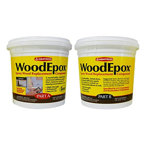Abatron WoodEpox 2 Gallon Kit– 2-Part Structural Epoxy Wood Replacement Compound. Shrink-Free Wood Filler That Repairs and Rebuilds Missing Wood