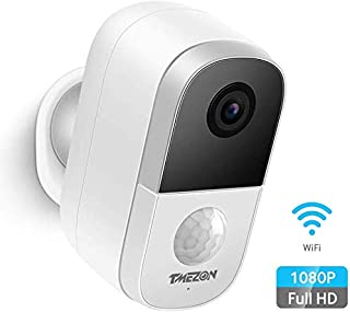Tmezon Wireless Outdoor Security Camera Rechargeable Battery Powered WiFi Smart Home Security Camera Motion Detection, 108...