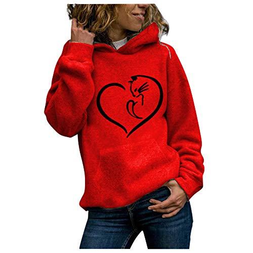 Sudadera de manga larga con capucha para mujer, cuello redondo, estilo informal rojo XXXL