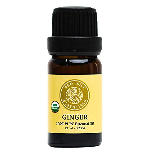 Organic Ginger Root Essential Oil, 100% Pure Non-Gmo Usda Certified Organic Zingiber Officinalis - 10Ml Undiluted | Healthy Digestion, Respiratory Support, Pain Relief