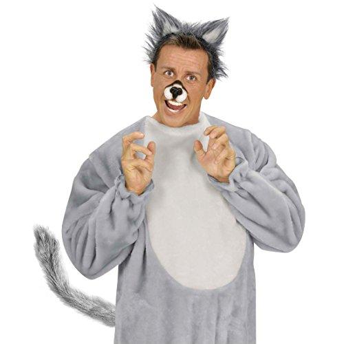 Amakando Queue de Loup en Peluche Gris Accessoire Queue de Chien à Modeller soirée à thème Animal fête Carnaval