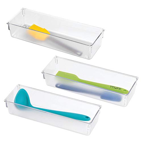 mDesign Compact Plastic Kitchen Cabinet Drawer Organizer Tray - Storage Bin for Cutlery Serving Spoons Cooking Utensils Gadgets - BPA Free Food Safe - 3 Wide 3 Pack - Clear