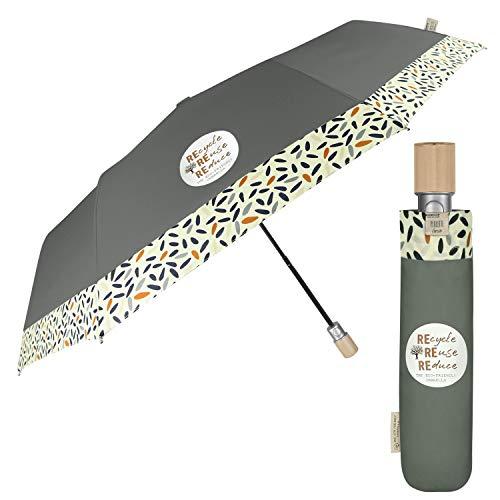 PERLETTI GREEN Paraguas Plegable Automático para Mujer Ecol