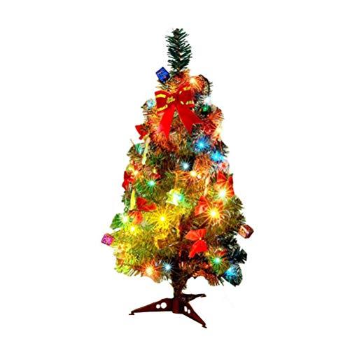 NUOBESTY mini albero di natale artificiale da tavolo con mini ornamenti natalizi scintillanti a luce led per decorazioni fai da te per feste da 60 cm