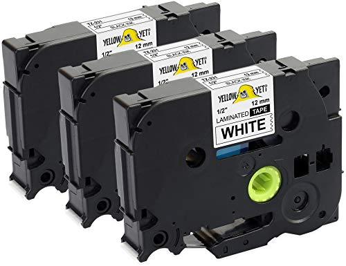 Yellow Yeti 3 Cassette Nastri Laminati TZe-231 TZ-231 nero su bianco 12mm x 8m Etichette compatibili per Etichettatrici Brother P-Touch PT-1000 PT-H100R PT-H100LB PT-H107B PT-H110 PT-D400 PT-D600VP