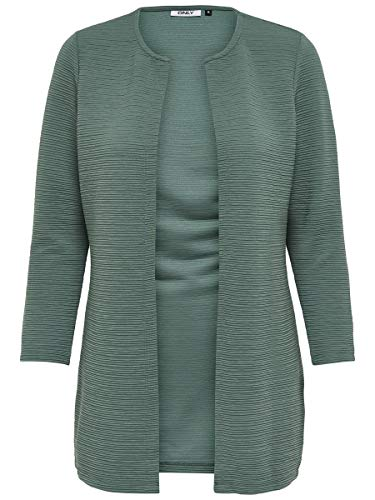 Only Onlleco 7/8 Long Cardigan Jrs Noos, Chaqueta Para Mujer, Verde (Balsam Green), 38 (Talla Fabricante: M)