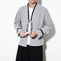 WENXIU メンズ中国風100%コットン長袖シングルブレストカジュアルカーディガン (Color : Light Grey, Size : M)