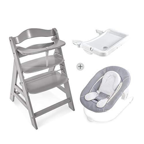 Hauck Newborn Set (3 Teilig): Alpha Hochstuhl in grau + Babywippe(Ohne Motiv) in grau ab Geburt nutzbar + Essbrett mit herausnehmbarem Tablett, weiß
