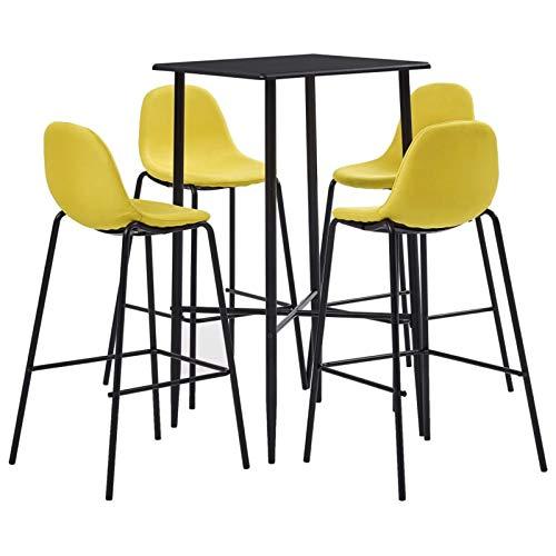 Tidyard Taburete de Bar Muebles Cocina Silla de Comedor para Salon Cocina Mesa Juego de Mesa Alta y taburetes 5 Piezas Tela Amarillo 6#
